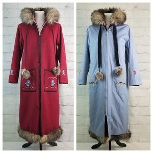 Vtg Labrador Handicrafts M 3 in 1 Fur Trim Coat